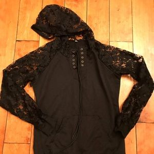Lace pull over hoodie